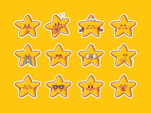 Leuke kawaii sterren karakter sticker illustratie met verschillende gelukkige uitdrukkingsactiviteit voor mascotte