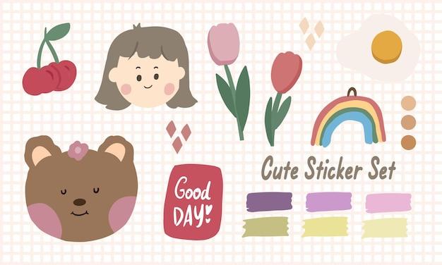Leuke kawaii sticker set met regenboog en meisje doodle kunst voor bullet journal notities element