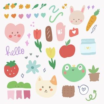 Leuke kawaii-stickerset met regenboog- en tulpenkrabbelkunst voor dagboekelement