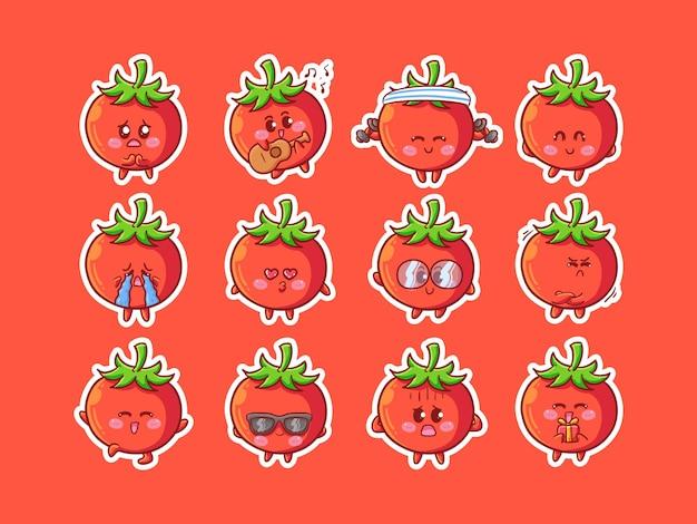 Leuke kawaii tomaat karakter sticker illustratie met verschillende gelukkige uitdrukkingsactiviteit voor mascotte