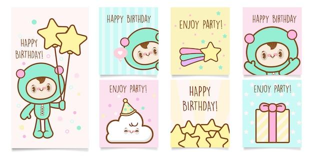 Leuke kawaii verjaardag uitnodigingensjabloon