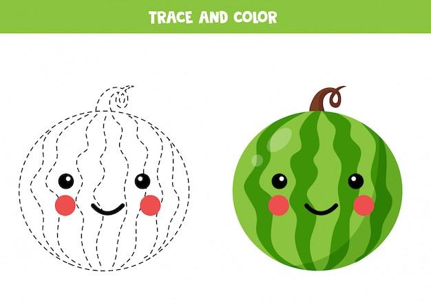 Leuke kawaii watermeloen traceren en kleuren.