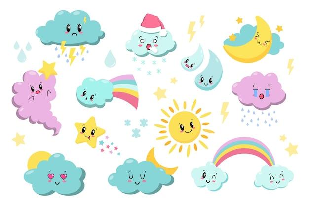 Leuke kawaii weerpictogrammen. wolken, regen, zon, sterren, bliksem, regenboog. japanse cartoon manga-stijl.