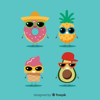 Leuke kawaii zomer karakters collectie