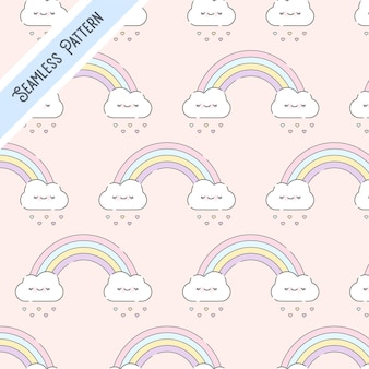 Leuke kawaiiwolken en regenboog naadloos patroon