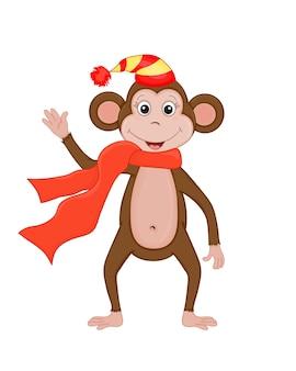 Leuke kerst aap. cartoon vectorillustratie. eps