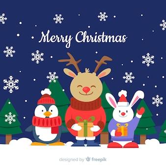 Leuke kerst dieren achtergrond