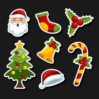 Leuke kerst elementen sticker pack