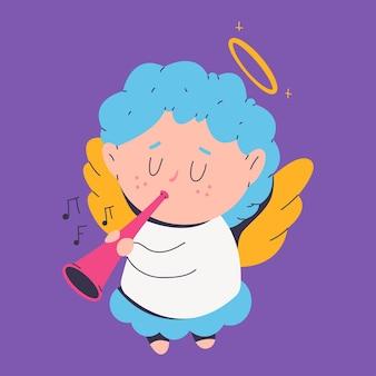 Leuke kerst engel met trompet stripfiguur geïsoleerd op de achtergrond.