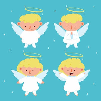 Leuke kerst engelen met vleugels en halokarakters die op achtergrond worden geplaatst.