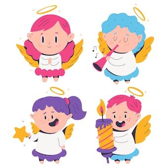 Leuke kerst engelen vector stripfiguren set geïsoleerd op een witte achtergrond.
