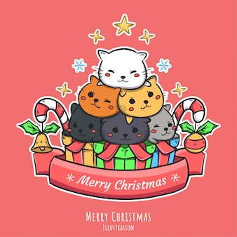 Leuke kerst hand getekende illustratie