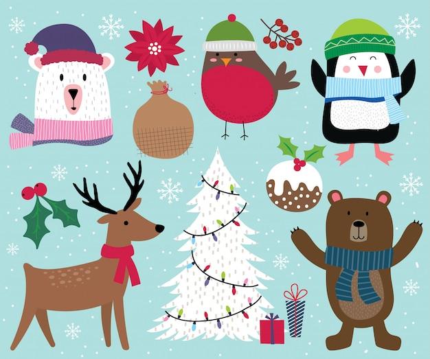 Leuke kerst karakter, rendieren, boom, pinguïn, beer, roodborstje en kerst ornament decoratie