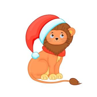 Leuke kerst leeuwenwelp. cartoon vectorillustratie.