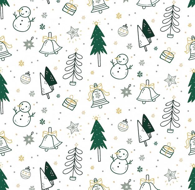 Leuke kerst naadloze patroon in doodle stijl