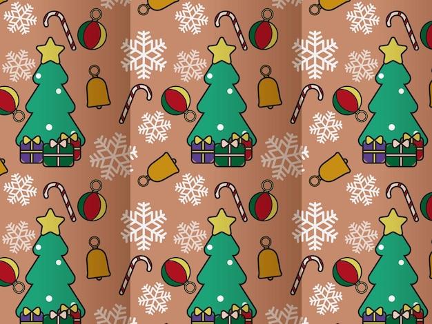 Leuke kerst naadloze patroon nieuwe jaar attributen