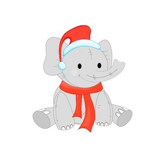 Leuke kerst olifant. cartoon vectorillustratie. eps