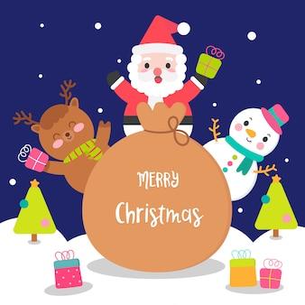 Leuke kerst tekenset met santa tas