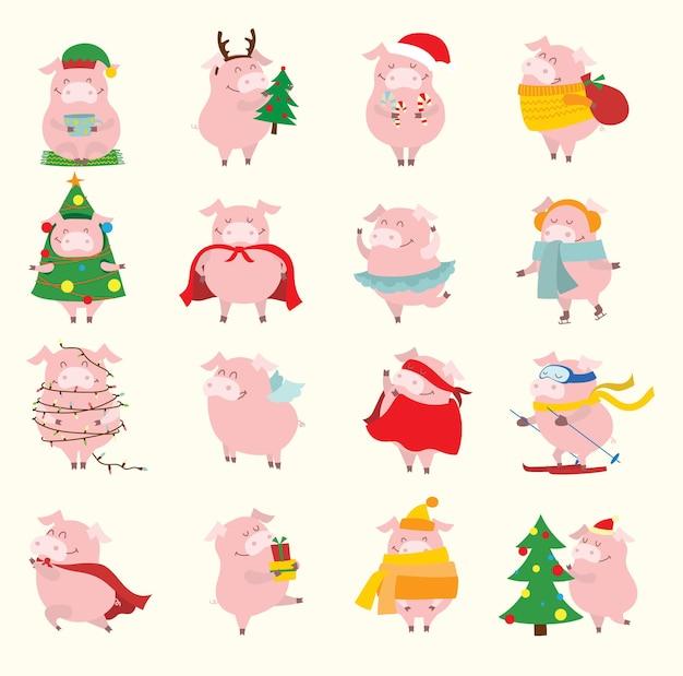 Leuke kerst zwijntjes collectie vectorillustratie van grappige cartoon varkens in verschillende kostuums su...
