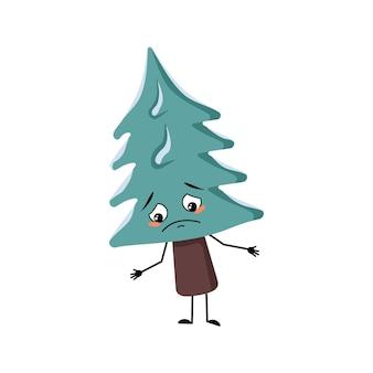 Leuke kerstboom met droevige emoties, depressief gezicht, neerwaartse ogen, armen en benen. pijnboom met ogen. nieuwjaar feestelijke decoratie, vrolijke spar