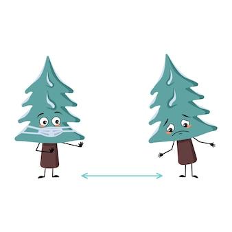 Leuke kerstboom met droevige emoties, gezicht en masker houden afstand, armen en benen. pijnboom met ogen. nieuwjaar feestelijke decoratie, vrolijke spar