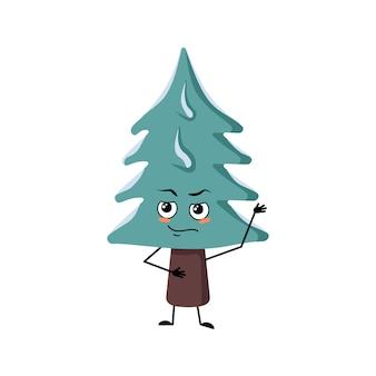 Leuke kerstboom met emoties van een held, een dapper gezicht, armen en benen. pijnboom met ogen. nieuwjaar feestelijke decoratie, vrolijke spar met moed expressie