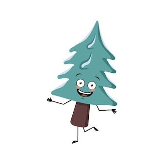 Leuke kerstboom met vrolijke emoties, dansen, glimlach, handen en benen. pijnboom met ogen. nieuwjaar feestelijke decoratie, vrolijke spar