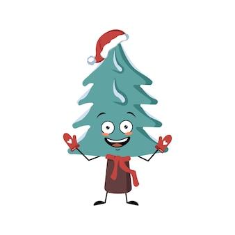 Leuke kerstboom met vrolijke emoties, lachgezicht, blije ogen, armen en benen. pijnboom met ogen. gelukkig vakantiesymbool in een rode kerstmuts, sjaal en wanten