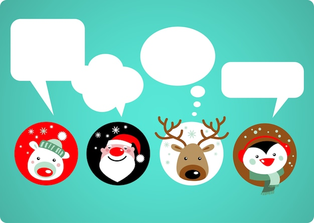 Leuke kerstdieren met tekstballonnen. kerstman, ijsbeer, herten en pinguïn pictogrammen