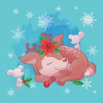 Leuke kerstkaart met cartoon herten en een boeket van poinsettia