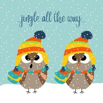 Leuke kerstkaart met uilen die hymnes zingen