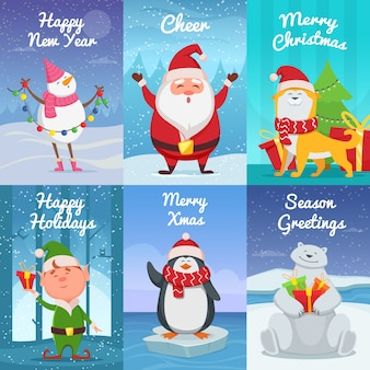 Leuke kerstkaarten met grappige karakters.