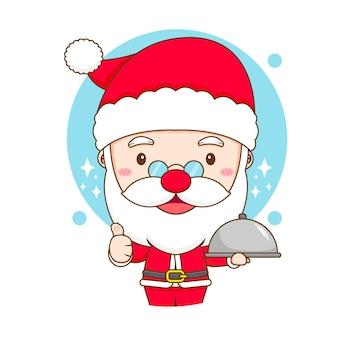 Leuke kerstman die de illustratie van het voedselchibikarakter serveert