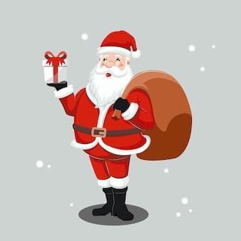 Leuke kerstman die een giftdoos en een zakillustratie houdt
