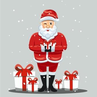 Leuke kerstman die een illustratie van de giftdoos houdt