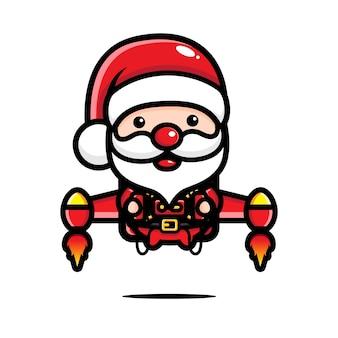 Leuke kerstman die met een jetpack vliegt