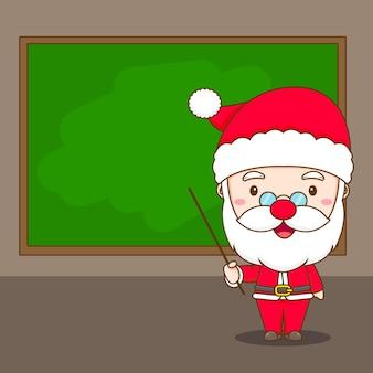 Leuke kerstman die voor schoolbord claus chibi-karakterillustratie onderwijst