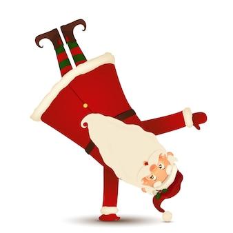 Leuke kerstman die zich op zijn geïsoleerde wapen bevindt. gelukkig santa claus stripfiguur.