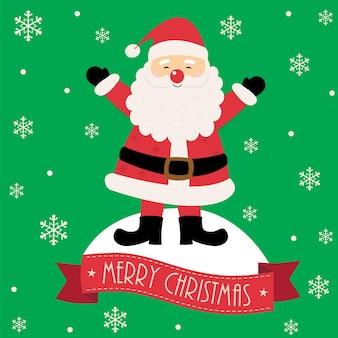 Leuke kerstman en banner vrolijk kerstfeest op groene achtergrond