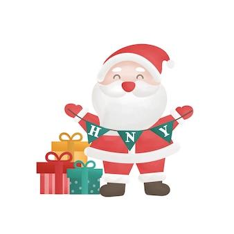 Leuke kerstman en geschenkdozen in aquarelstijl.