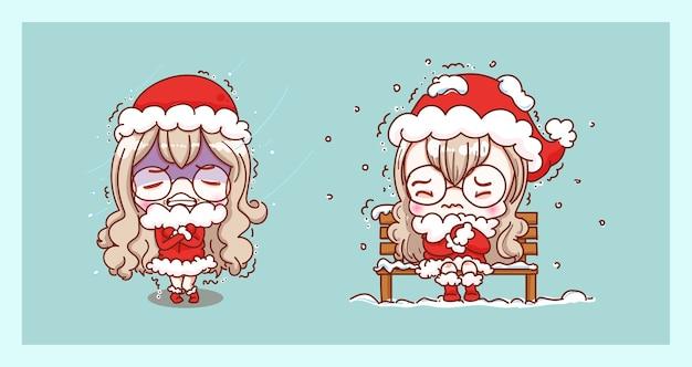 Leuke kerstman en koude temperatuur geïsoleerd op merry christmas-achtergrond met karaktersontwerp.