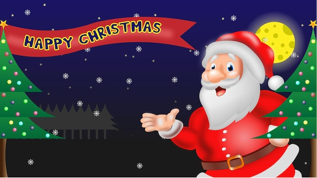 Leuke kerstman en sneeuwpop winter merry christmas illustratie premium vector