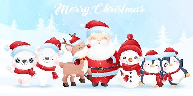 Leuke kerstman en vrienden voor kerst met aquarel banner