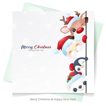 Leuke kerstman en vrienden voor kerst met aquarel kaart