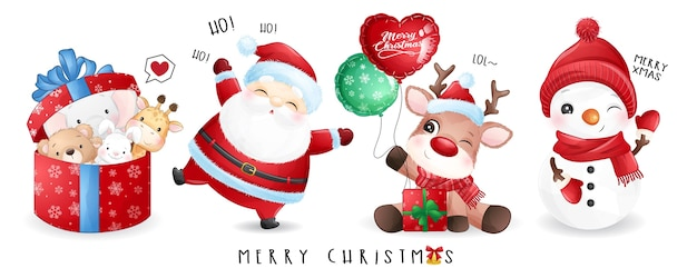 Leuke kerstman en vrienden voor kerstdag met aquarel banner