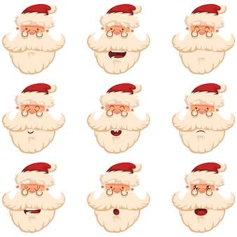Leuke kerstman hoofd. geconfronteerd met verschillende grappige emoties. vector cartoon tekenset