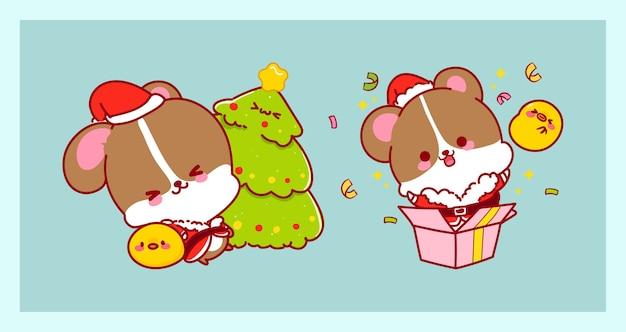 Leuke kerstman in rattenkostuum dat op vrolijke kerstmisachtergrond wordt geïsoleerd met karaktersontwerp.