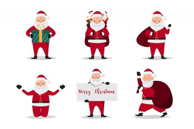 Leuke kerstman karakters in verschillende emoties