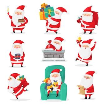 Leuke kerstman. kerst santa clausules met grappige emoties en nieuwjaarscadeaus voor kinderen, feestelijke happy xmas vakantie tekens, platte vector cartoon geïsoleerde set