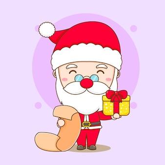 Leuke kerstman leeslijst chibi karakter illustratie